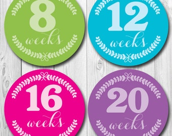 Pregnancy Stickers, Wreath Maternity Stickers, Weekly Pregnancy, Photo Stickers for new mom, belly bump, tummy stickers