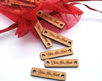 50 Product Tags with heart shaped holes - Customized with your text - 0.4 x 1.6 Inch - laser cut and engraved
