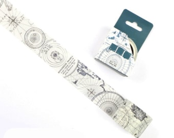 Map Washi Tape, Geography Washi Tape, Japanese Washi Masking Tape, Drawing, Graphs, Compass, Direction, North, South, East, West, Map