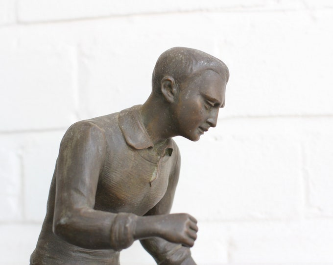 Marble And Bronze Footballer Statue Circa 1920s