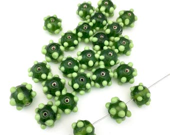 10 bumpy lampwork glass beads, green shades 12mm #PV 030