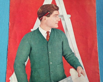 1950s Vintage Lee Target Knitting Pattern for Men's Economy Cardigan