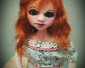 OOAK art doll and her plush Bunny