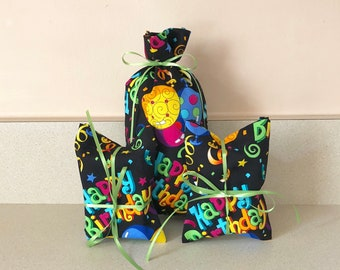 3 Birthday Gift Bags - Reusable Eco-Friendly Cotton Fabric