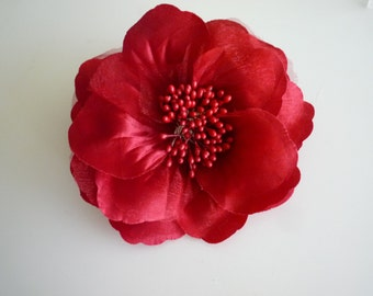 SATIN  GARDENIA Flower , Flamenco Red  / FL - 01