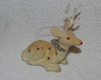 Vintage Felted Rudolph Reindeer, Christmas Rudolph, Deer, Doe, Rudolph, Bambi, Christmas Reindeer, Bambi, Holiday Christmas Tree Ornament