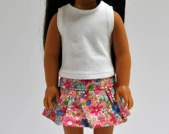 Pink Floral Skirt  made to fit Wellie Wishers Doll Clothes 14.5 Inch Doll Clothes