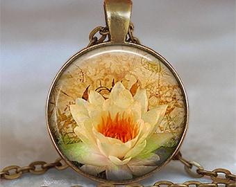 Golden Lotus pendant, lotus necklace meditation jewelry lotus jewelry yoga pendant yoga jewelry yoga necklace key chain key ring fob