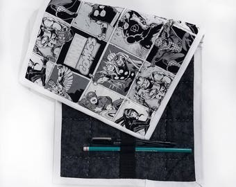Quilted Pencil Case - Marvel B&W comic