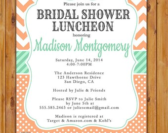 Mint with Peach Chevron Bridal Shower Luncheon Invite Polka Dot Pattern Wedding Baby Shower Birthday Printable Invite (204)