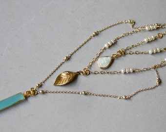 Three Strand Gold Minimalist Necklace, Aqua Blue and Pearl Necklace, Dainty Jewelry, Leaf Pendant Necklace, Minimalist Jewelry, Multi Strand