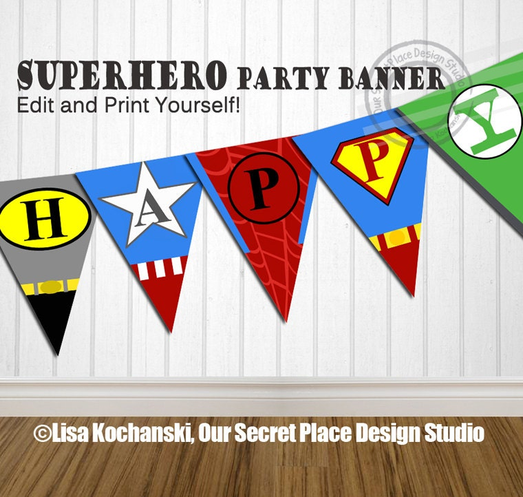 Instant download editable superhero birthday banner super hero zoom solutioingenieria Image collections