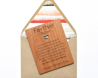 Fathers Day Card Wood - Father Definition - Unique Father's Day Greeting Cards - Mini Wood Card
