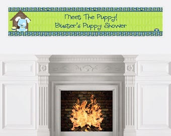 Blue Boy Puppy Party Banner - Custom Dog Party Decorations