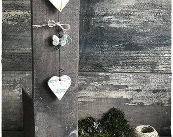 Height 29 cm ceramic stoneware heart Garland
