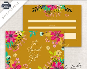 Printable Gift Certificate Design - 7 x 5 Postcard Size - Gift Card - Ready To Print - INSTANT DOWNLOAD - Design #5