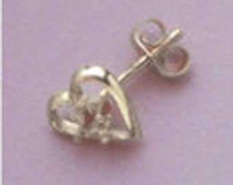 Two (2-3mm) Round Accented Heart Style Sterling Silver Pre-Notched Earring Settings