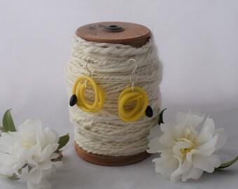 Yellow recycled knitting needle earrings, vintage knitting needle dangle earrings, quirky earrings handmade from vintage knitting needles