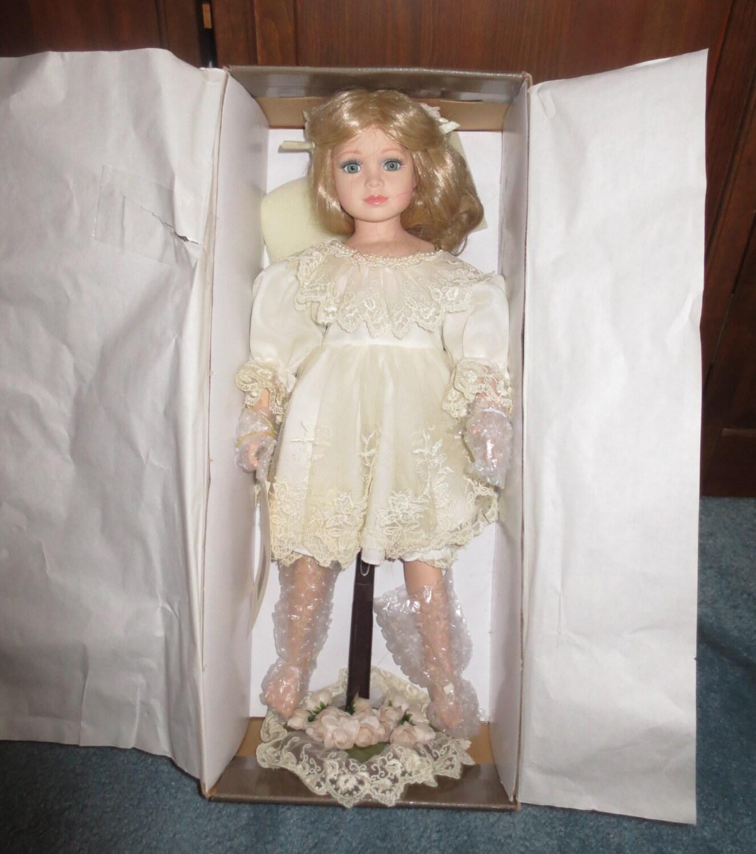 Vintage 90s Barefoot Child Porcelain Doll Diana in Original