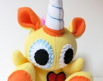 Rowdy One Horn - Mini yellow plush unicorn with rainbow mohawk, stuffed unicorn plush, unicorn softie