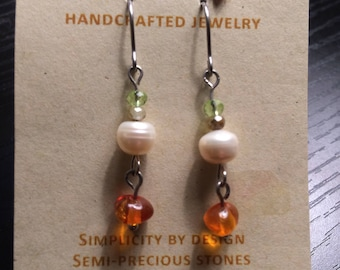 Amber and MOP Earrings