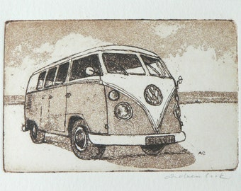 original etching and aquatint of a VW camper van