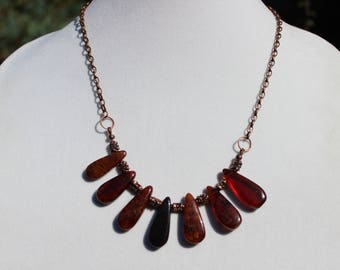 Hessonite Garnet Necklace, Antique Copper Chain Necklace, Boho Necklace, Gemstone Necklace, Statement Necklace