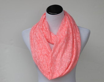 Pink scarf Mothers day scarf very soft feminine coral infinity scarf spring scarf burnout knit  scarf circle scarf for women & teenage girls