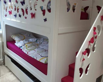 Triple Trundle Bunk Bed With Stairs. Comes with a 10 year Structural Gaurantee (please read description)