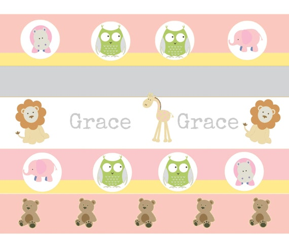 Organic Cotton Personalized Baby/Toddler  Blankets | Garden Stripes Friends 2 Pink - Zoo Animals Teddy Bear  Blanket
