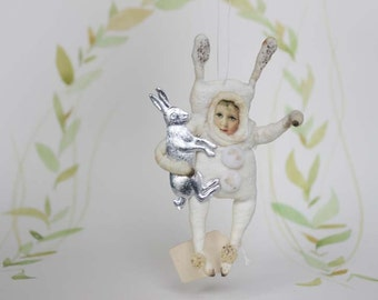 Vintage inspired Spun Cotton  Easter Miniature Easter Rabbit Child with Dresden paper Rabbit