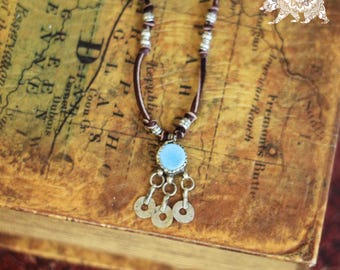 Auda silver and turquoise vintage ethnic pendant necklace