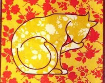The cat flower #AN090 paper TOWEL