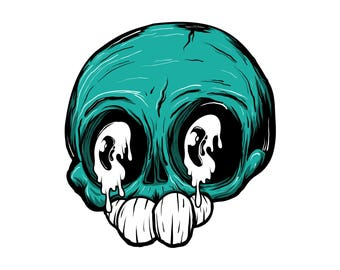 "Gloopy Skull 3"" Sticker"