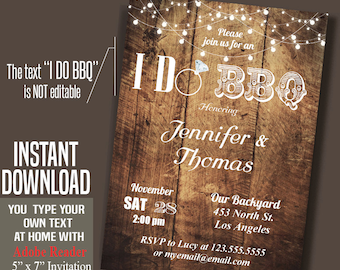I do BBQ Invitation, Printable Rustic wedding shower invite, Instant Download self editable PDF file A510