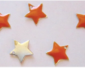 Beautification - Set of 5 enamel stars Orange