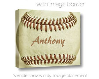 Custom Baseball Canvas-Personalized Wall Art-Name Art-Sports Wall Decor-Fine Art Canvas Print-Boys Room Wall Art-Athletic Wall Decor