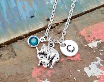 Mom and Baby Elephant Necklace, Elephant Necklace, Initial Birthstone, Elephant Jewelry, Elephant Charm Necklace, Animal Necklace,