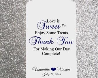 W6, Love is Sweet, Enjoy some Treats, Wedding Candy Bag, Wedding Candy Buffet, Candy Favor Bags, Treat Bags, Kraft Bags, Personalized bags