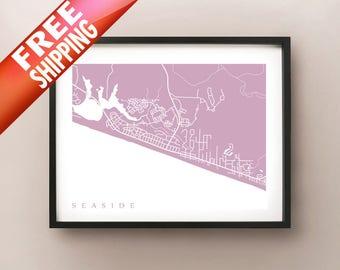 Seaside, FL Map Print - Seaside and Seagrove Beach, Florida Poster
