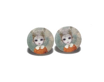 Creepy Girl Earrings, Halloween Jewelry, Halloween Earrings,  Weird Earrings, Gift for her, Gift, Scary, Stocking Stuffer, Halloween,