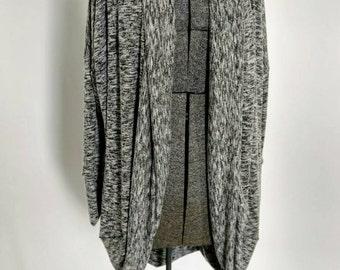 Cozy Cardigan-Women's Flowy Cardigan-Gray and White Marble Knit Cardigan-Loose Dolman Sleeve Cardigan-Fall Cardigan - Tunic Length Cardigan