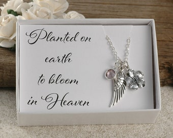 Planted on earth to bloom in heaven, miscarriage, infant loss, memorial for baby, stillborn gift, wing, birthstone, cherry blossom flower