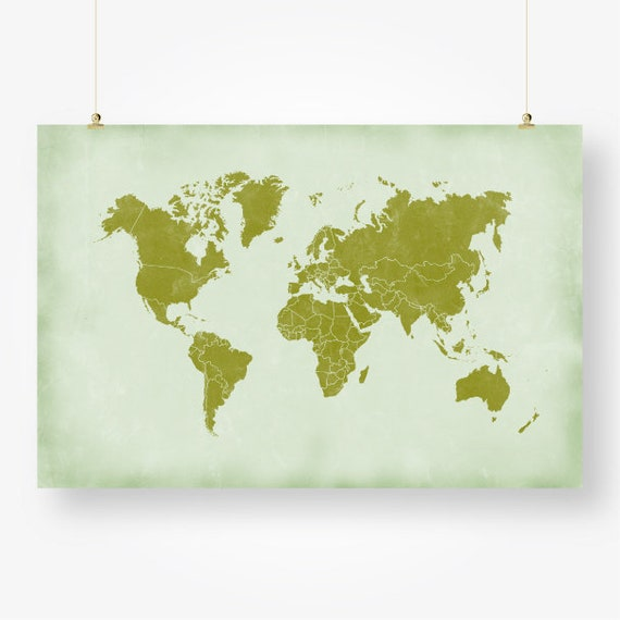 Large world map countries print printable distressed world map large world map countries print printable distressed world map of the world green wall art decor poster digital instant download jpg pdf gumiabroncs Images