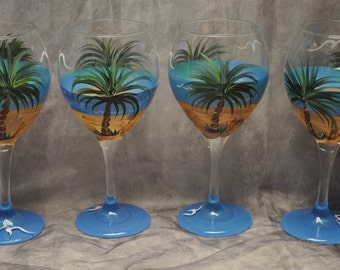 Single, Tropical Palm Beach wine glass