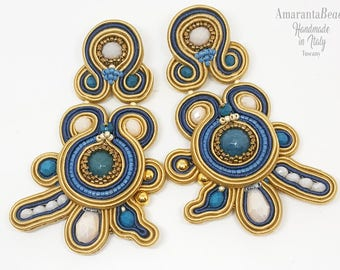 Soutache earrings in the soft colorshoney and azul  (  sewn -not glued!)