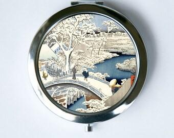Japanese Woodblock Snow Compact Mirror Pocket Mirror