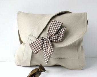 Beige Messenger Bag Brown and White Gingham Bow Adjustable strap For women for New Mom
