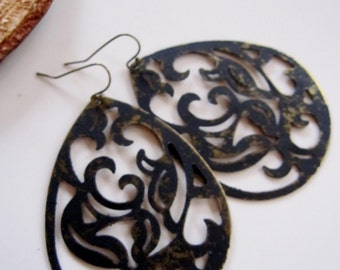 Black Patina Earrings, Large filigree Teardrop, Bold Flower Design, Bohemian Style, Tribal, Redpeonycreations