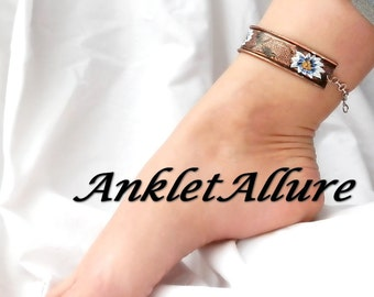 PAINTED Anklet DAISY Ankle Bracelet Copper Anklet Cuff AnkletS for Women